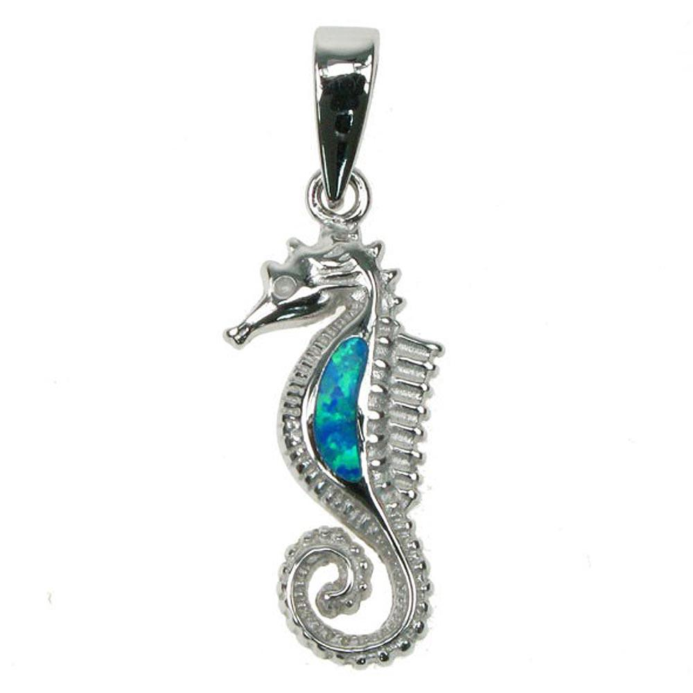 Sterling silver blue opal seahorse pendant astral aspects sterling silver blue opal seahorse pendant mozeypictures Images