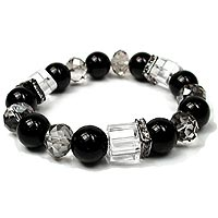Black and White Glass and Crystal Bracelet