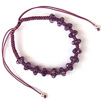 Purple Friendship Bracelet with Amethyst Faceted Beads (31% OFF)