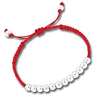 Red Friendship Bracelet with Sterling Silver Beads