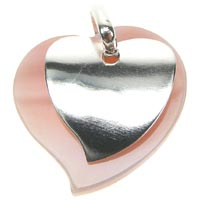Sterling Silver Mother of Pearl Two Hearts Pendant