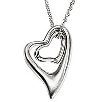 Sterling Silver Satin Hearts Necklace (36% OFF)