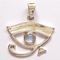 Sterling Silver Rainbow Moonstone Eye of Horus Pendant