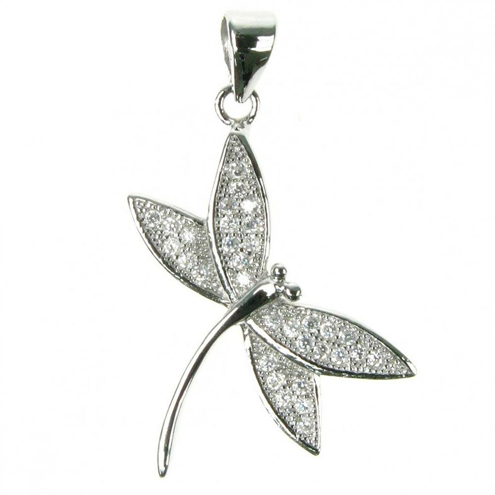 Sterling Silver CZ Dragonfly Pendant
