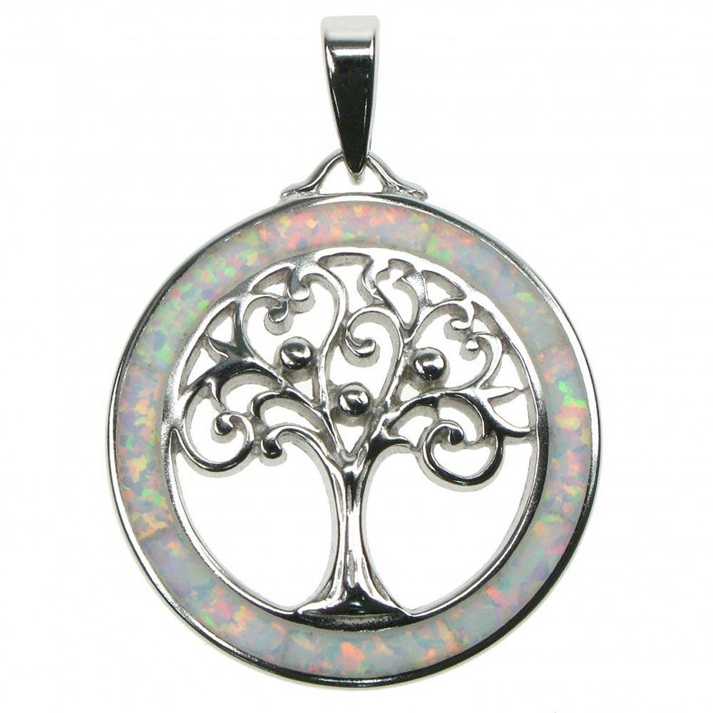 Sterling silver white opal tree of life pendant astral aspects sterling silver white opal tree of life pendant mozeypictures Gallery